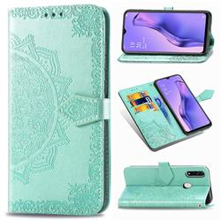Embossing Imprint Mandala Flower Leather Wallet Case for Oppo A8 - Green