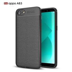 Luxury Auto Focus Litchi Texture Silicone TPU Back Cover for Oppo A83 - Black