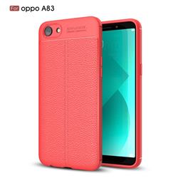 Luxury Auto Focus Litchi Texture Silicone TPU Back Cover for Oppo A83 - Red