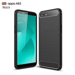 Luxury Carbon Fiber Brushed Wire Drawing Silicone TPU Back Cover for Oppo A83 - Black
