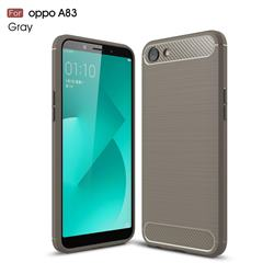 Luxury Carbon Fiber Brushed Wire Drawing Silicone TPU Back Cover for Oppo A83 - Gray
