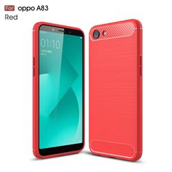 Luxury Carbon Fiber Brushed Wire Drawing Silicone TPU Back Cover for Oppo A83 - Red
