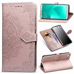 Embossing Imprint Mandala Flower Leather Wallet Case for Oppo A83 - Rose Gold