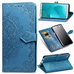 Embossing Imprint Mandala Flower Leather Wallet Case for Oppo A83 - Blue
