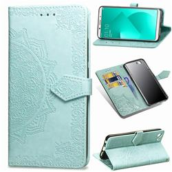 Embossing Imprint Mandala Flower Leather Wallet Case for Oppo A83 - Green