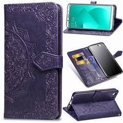Embossing Imprint Mandala Flower Leather Wallet Case for Oppo A83 - Purple
