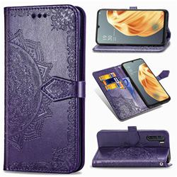 Embossing Imprint Mandala Flower Leather Wallet Case for Oppo A91 - Purple