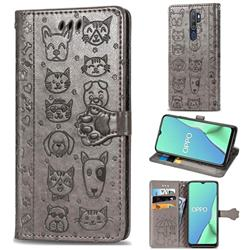 Embossing Dog Paw Kitten and Puppy Leather Wallet Case for Oppo A9 (2020) - Gray