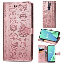 Embossing Dog Paw Kitten and Puppy Leather Wallet Case for Oppo A9 (2020) - Rose Gold