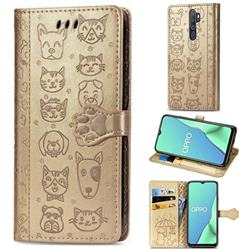 Embossing Dog Paw Kitten and Puppy Leather Wallet Case for Oppo A9 (2020) - Champagne Gold