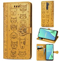 Embossing Dog Paw Kitten and Puppy Leather Wallet Case for Oppo A9 (2020) - Yellow