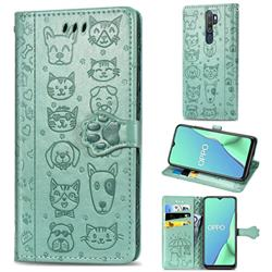 Embossing Dog Paw Kitten and Puppy Leather Wallet Case for Oppo A9 (2020) - Green