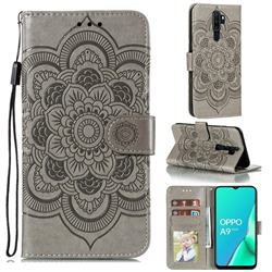 Intricate Embossing Datura Solar Leather Wallet Case for Oppo A9 (2020) - Gray