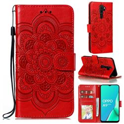 Intricate Embossing Datura Solar Leather Wallet Case for Oppo A9 (2020) - Red