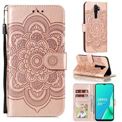 Intricate Embossing Datura Solar Leather Wallet Case for Oppo A9 (2020) - Rose Gold