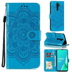Intricate Embossing Datura Solar Leather Wallet Case for Oppo A9 (2020) - Blue