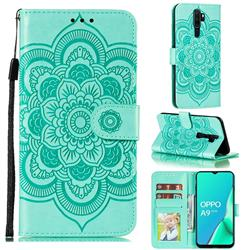 Intricate Embossing Datura Solar Leather Wallet Case for Oppo A9 (2020) - Green