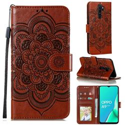 Intricate Embossing Datura Solar Leather Wallet Case for Oppo A9 (2020) - Brown