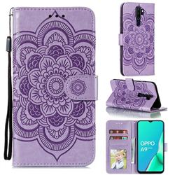 Intricate Embossing Datura Solar Leather Wallet Case for Oppo A9 (2020) - Purple