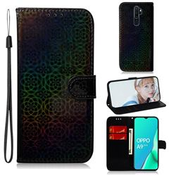 Laser Circle Shining Leather Wallet Phone Case for Oppo A9 (2020) - Black