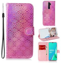 Laser Circle Shining Leather Wallet Phone Case for Oppo A9 (2020) - Pink