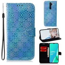 Laser Circle Shining Leather Wallet Phone Case for Oppo A9 (2020) - Blue