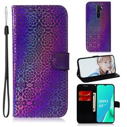 Laser Circle Shining Leather Wallet Phone Case for Oppo A9 (2020) - Purple