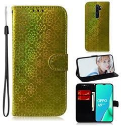 Laser Circle Shining Leather Wallet Phone Case for Oppo A9 (2020) - Golden