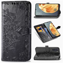 Embossing Imprint Mandala Flower Leather Wallet Case for Oppo F15 - Black