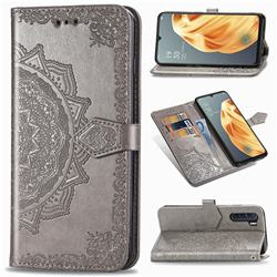 Embossing Imprint Mandala Flower Leather Wallet Case for Oppo F15 - Gray