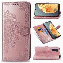 Embossing Imprint Mandala Flower Leather Wallet Case for Oppo F15 - Rose Gold
