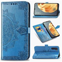 Embossing Imprint Mandala Flower Leather Wallet Case for Oppo F15 - Blue