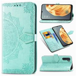 Embossing Imprint Mandala Flower Leather Wallet Case for Oppo F15 - Green
