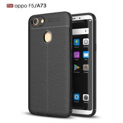 Luxury Auto Focus Litchi Texture Silicone TPU Back Cover for Oppo F5 - Black