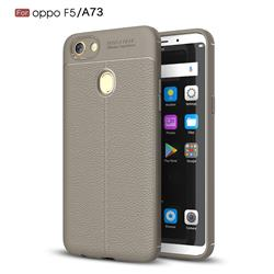 Luxury Auto Focus Litchi Texture Silicone TPU Back Cover for Oppo F5 - Gray
