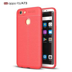 Luxury Auto Focus Litchi Texture Silicone TPU Back Cover for Oppo F5 - Red