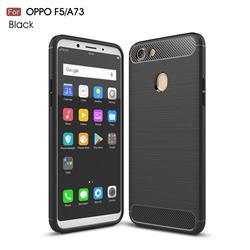 Luxury Carbon Fiber Brushed Wire Drawing Silicone TPU Back Cover for Oppo F5 - Black