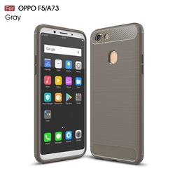 Luxury Carbon Fiber Brushed Wire Drawing Silicone TPU Back Cover for Oppo F5 - Gray