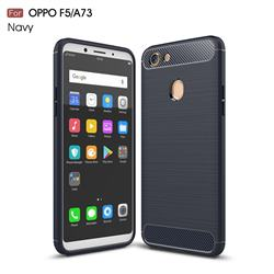 Luxury Carbon Fiber Brushed Wire Drawing Silicone TPU Back Cover for Oppo F5 - Navy