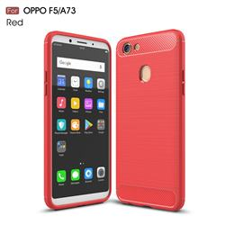 Luxury Carbon Fiber Brushed Wire Drawing Silicone TPU Back Cover for Oppo F5 - Red