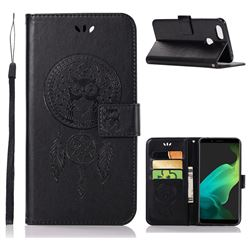 Intricate Embossing Owl Campanula Leather Wallet Case for Oppo F5 - Black