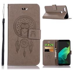 Intricate Embossing Owl Campanula Leather Wallet Case for Oppo F5 - Grey