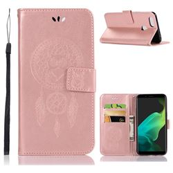 Intricate Embossing Owl Campanula Leather Wallet Case for Oppo F5 - Rose Gold