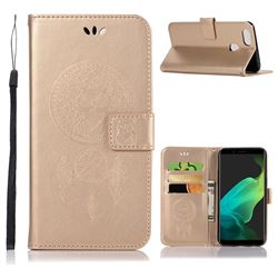Intricate Embossing Owl Campanula Leather Wallet Case for Oppo F5 - Champagne
