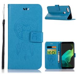 Intricate Embossing Owl Campanula Leather Wallet Case for Oppo F5 - Blue