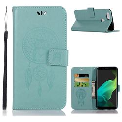 Intricate Embossing Owl Campanula Leather Wallet Case for Oppo F5 - Green