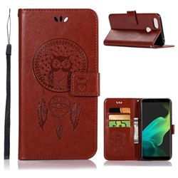 Intricate Embossing Owl Campanula Leather Wallet Case for Oppo F5 - Brown