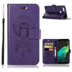 Intricate Embossing Owl Campanula Leather Wallet Case for Oppo F5 - Purple