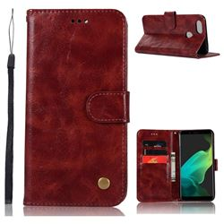 Luxury Retro Leather Wallet Case for Oppo F5 - Wine Red