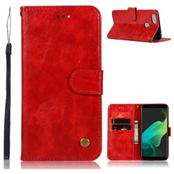 Luxury Retro Leather Wallet Case for Oppo F5 - Red